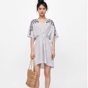 Zara Basic Striped and Embroidered Linen Dress